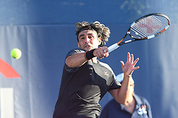 August 1, 2018 - Washington, D.C, U.S - MARCOS BAGHDATIS hits a forehand during his 2nd round match at the Citi Open at the Rock Creek Park Tennis Center in Washington, D.C. (Credit Image: © Kyle Gustafson via ZUMA Wire)