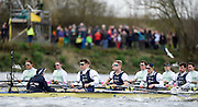 Putney - Chiswick, London,  Great Britain.<br /> Both Crews racing on the Fulham Reach during the <br /> 2016 University Boat Race, Oxford vs Cambridge, Putney. Putney  to Mortlake, Championship Course. River Thames.<br /> <br /> Sunday  27/03/2016 <br /> <br /> [Mandatory Credit; Peter SPURRIER/Intersport-images]