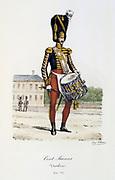 Drummer from the Swiss Company of the King's guard, 1814-1817.   'Histoire de la maison militaire du Roi de 1814 a 1830' by Eugene Titeux, Paris, 1890.