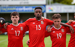 RHYL, WALES - Monday, September 4, 2017: Wales players line-up before an Under-19 international friendly match between Wales and Iceland at Belle Vue. Sion Spence, Adam Sharif, Kieran Holsgrove. L-R: Sion Spence, Adam Sharif, Kieran Holsgrove. (Pic by Paul Greenwood/Propaganda)