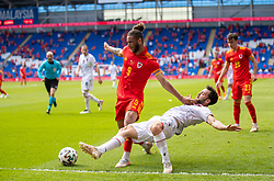 CARDIFF, WALES - Saturday, June 5, 2021: Wales' Tyler Roberts (L) and Albania's Rey Manan during an International Friendly between Wales and Albania at the Cardiff City Stadium in their game before the UEFA Euro 2020 tournament. (Pic by David Rawcliffe/Propaganda)