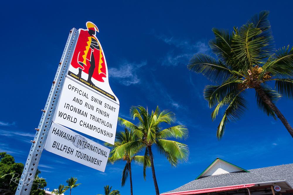 Sign at the start of the Ironman Triathlon, Kailua-Kona, Hawaii