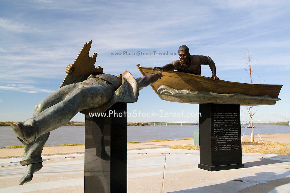 Memphis Tennessee TN, USA, Memorial statue Tom Lee an African-American riverworker, who was personally credited with using a small rowboat to save the lives of 32 passengers from the sinking of M.E. Norman a steamboatthat sunk on May 8, 1925, near Cow Island Bend. Tom Lee Park is named in his honor.