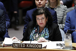 April 14, 2018 - New York, New York, U.S. - British Ambassador to the United Nations Karen Pierce (Front) addresses a Security Council emergency meeting on Syria at the UN headquarters in New York. UN Security Council held an emergency meeting on Syria requested by Russia on Saturday. UN Secretary-General Antonio Guterres expressed concern over Friday's joint military action against Syria by the United States, France and Britain, and called for adherence to the UN Charter and international law on the issue. (Credit Image: © Li Muzi/Xinhua via ZUMA Wire)