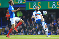 Aaron Wilbraham looks to shoot during the EFL Sky Bet League 1 match between Portsmouth and Rochdale at Fratton Park, Portsmouth, England on 13 April 2019.
