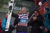 INNSBRUCK,AUSTRIA,04.JAN.17 - NORDIC SKIING, SKI JUMPING - FIS World Cup, Four Hills Tournament, large hill, award ceremony. Image shows the rejoicing of Robert Johansson (NOR).<br /> <br /> Norway only