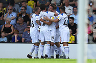 GOAL Bradden Inman (19) is congratulated after opening the scoring 0-1 during the EFL Sky Bet League 1 match between Burton Albion and Rochdale at the Pirelli Stadium, Burton upon Trent, England on 4 August 2018.