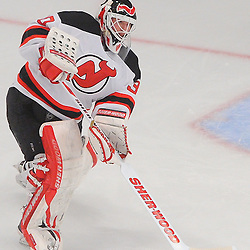 May 14, 2012: New Jersey Devils goalie Martin Brodeur (30) passes the puck during second period action in game 1 of the NHL Eastern Conference Finals between the New Jersey Devils and New York Rangers at Madison Square Garden in New York, N.Y.