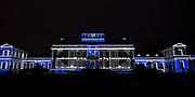 Officiële overdracht plaats van Paleis Soestdijk.<br /> <br /> Op de foto:  Llichtshow op de volledige gevel van het paleis Soestdijk