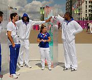 DESCRIZIONE : France Basketball Jeux Olympiques Londres <br /> GIOCATORE : KARABATIC NikOLA BATUM Nicolas GOBERVILLE Celine DIAW Boris<br /> SQUADRA : France Homme<br /> EVENTO : FRANCE Jeux Olympiques<br /> GARA : <br /> DATA : 30 07 2012<br /> CATEGORIA :Jeux Olympiques<br /> SPORT : BASKETBALL HANDBALL TIR<br /> AUTORE : JF Molliere <br /> Galleria : France JEUX OLYMPIQUES 2012 Magazine<br /> Fotonotizia : France Basketball Jeux Olympiques Londres Village Olympique<br /> Predefinita :