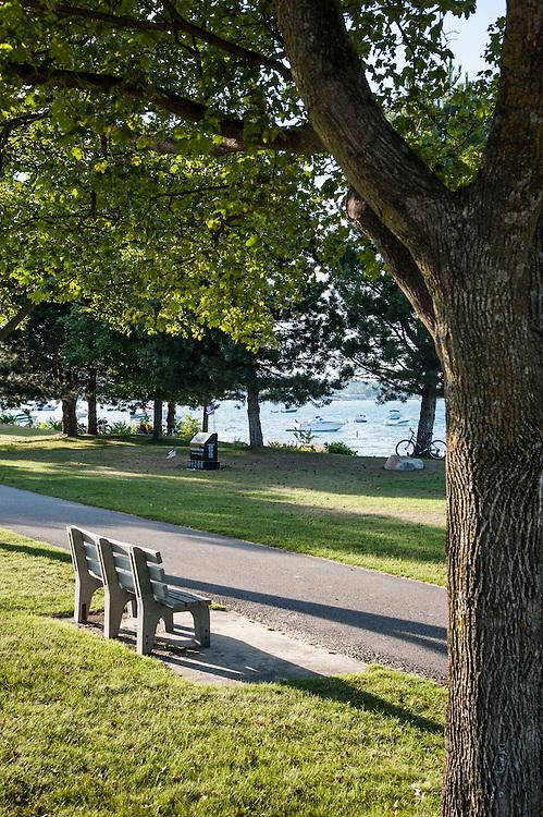 The Lake Michigan waterfront of Traverse City, Michigan in summer.