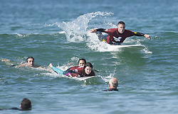 September 9, 2017 - Huntington Beach, CA, USA - Veterans learn to surf during Waves of Valor in Huntington Beach, on Saturday, September 9, 2017. (Credit Image: © Nick Agro/The Orange County Register via ZUMA Wire)
