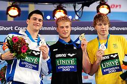 25.11.2010, Pieter van den Hoogenband Zwemstadion, Eindhoven, NED, Kurzbahn Schwimm EM, im Bild ..Men's 50m Freestyle Podium.Marco ORSI ITA Silver, Steffen DEIBLER Ger Gold, Andriy GOVOROV UKR Bronze. // Eindhoven 25/11/2010 .European Short Course Swimming Championships, EXPA/ InsideFoto/ Staccioli+++++ ATTENTION - FOR AUSTRIA/AUT, SLOVENIA/SLO, SERBIA/SRB an CROATIA/CRO CLIENT ONLY +++++ / SPORTIDA