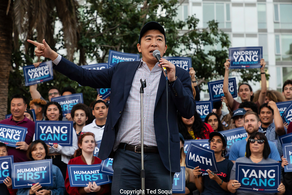 Andrew Yang, a 2020 Democratic presidential candidate, holding a rally in Los Angeles. Yang's platform includes the Freedom Dividend, a universal basic income of $1000 per month, and Medicare for All.<br /> April 22, 2019 Pershing Square, Los Angeles, CA, USA<br /> (Photo by Ted Soqui/SIPA USA)