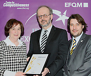 Breda Gormally of North Kildare Citizens Information Service receive their award from Tony McQuinn chief executive CIB and Matt Fisher COO, EFQM at the EFQM Ireland Excellence Awards ceremony in association with Fáilte Ireland and the Centre for Competitiveness at the Galway Bay Hotel on Friday night. Photo:- Andrew Downes Photography / No Fee