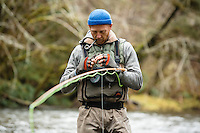 Fly fishing the North Fork of the Nehalem River, Oregon.