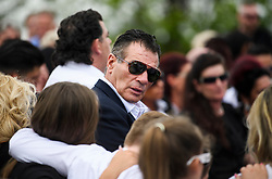 © Licensed to London News Pictures. 21/04/2018. London, UK. PADDY DOHERTY attends the burial of traveller 'Queenie, Elizabeth Doherty at Kensal Green Cemetery in west London, following a funeral service in Cobham, Surrey. Elizabeth Doherty, whose son Paddy Doherty is known for appearing on My Big Fat Gypsy Wedding and winning Celebrity Big Brother 8, died of a heart attack earlier this month. Paddy Doherty claimed his mother has died of a 'broken heart' following the death of her husband almost a year ago. Photo credit: Ben Cawthra/LNP