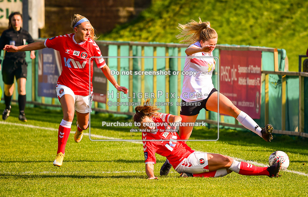 Crayford   England    07 March 2021   The Oakwood<br /> <br /> Lewes's Lucy Ashworth-Clifford is tackled by Charlton's Charley Clifford<br /> <br /> Charlton v Lewes<br /> <br /> The FA Women's Championship<br /> <br /> (Photo: © Jon Hilliger / HilligerPix)