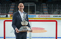 REGINA, SK - MAY 26: Coach of the Year, Drew Bannister of the the Sault Ste. Marie Greyhounds at the Brandt Centre on May 26, 2018 in Regina, Canada. (Photo by Marissa Baecker/CHL Images)