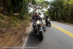 Jay Allen riding his Shovelhead along A1A during Daytona Bike Week. FL. USA. Sunday March 18, 2018. Photography ©2018 Michael Lichter.