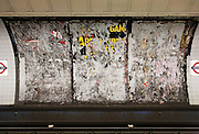 Billboard with posters removed at Green Park Underground Station. London, UK, 2009