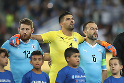 October 14, 2018 - Be'Er Sheva, Israel - Sheran Yeini (#12), Ariel Harush (#1) and Bibras Natkho (#6) of Israel before the UEFA Nations League C group 1 match between Israel and Albania at Turner Stadium in Be'er Sheva, Israel, on 14 October 2018. Israel won 2-0. (Credit Image: © Ahmad Mora/NurPhoto via ZUMA Press)
