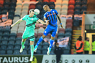 Calvin Andrew wins a header during the The FA Cup 1st round match between Rochdale and Gateshead at Spotland, Rochdale, England on 10 November 2018.