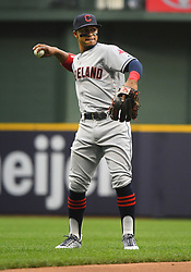 May 8, 2018 - Milwaukee, WI, U.S. - MILWAUKEE, WI - MAY 08: Cleveland Indians Shortstop Francisco Lindor (12) throws the ball during a MLB game between the Milwaukee Brewers and Cleveland Indians on May 8, 2018 at Miller Park in Milwaukee, WI. The Brewers defeated the Indians 3-2.(Photo by Nick Wosika/Icon Sportswire) (Credit Image: © Nick Wosika/Icon SMI via ZUMA Press)