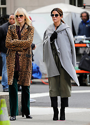 """Cate Blanchett and Sandra Bullock are seen on the set of """"Ocean's 8"""" in New York, 25th October 2016."""