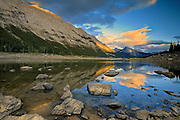 Medicine Lake in the Canadian Rocky Mountains <br /> Jasper National Park<br /> Alberta<br /> Canada