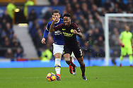 Raheem Sterling of Manchester City gets away from Ross Barkley of Everton. Premier league match, Everton v Manchester City at Goodison Park in Liverpool, Merseyside on Sunday 15th January 2017.<br /> pic by Chris Stading, Andrew Orchard sports photography.