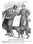"The Paulo-Post-Futurist. John Bull. ""I don't like the look of this dog, constable. Can't you do something about it?"" PC MacDonald. ""AFTER he's bitten you, sir; not before."" (Ramsay MacDonald carries a dog muzzle with 'Court of Inquiry' label as the 'Coal Dispute' dog bites John Bull)"