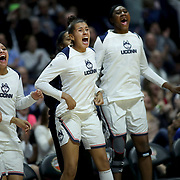 UNCASVILLE, CONNECTICUT- DECEMBER 19:  The UConn bench react to a three point basket during the Naismith Basketball Hall of Fame Holiday Showcase game between the UConn Huskies Vs Oklahoma Sooners, NCAA Women's Basketball game at the Mohegan Sun Arena, Uncasville, Connecticut. December 19, 2017 (Photo by Tim Clayton/Corbis via Getty Images)
