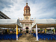 18 SEPTEMBER 2016 - BANGKOK, THAILAND: Santa Cruz Church before the church's 100th anniversary mass. Santa Cruz Church was establised in 1769 to serve Portuguese soldiers in the employ of King Taksin, who reestablished the Siamese (Thai) empire after the Burmese sacked the ancient Siamese capital of Ayutthaya. The church was one of the first Catholic churches in Bangkok and is one of the most historic Catholic churches in Thailand. The first sanctuary was a simple wood and thatch structure and burned down in the 1800s. The church is in its third sanctuary and was designed in a Renaissance / Neo-Classical style. It was consecrated in September, 1916. The church, located on the Chao Phraya River, serves as a landmark for central Bangkok.       PHOTO BY JACK KURTZ