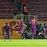 Galatasaray's players celebrate goal during their Ziraat Turkey CUP soccer match Galatasaray between Eskisehirspor at the AliSamiYen TT Arena at Seyrantepe in Istanbul Turkey on Wednesday, 03 December 2014. Photo by Kurtulus YILMAZ/TURKPIX