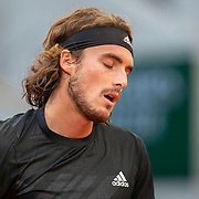 PARIS, FRANCE October 07.  Stefanos Tsitsipas of Greece during his match against Andrey Rublev of Russia in the Quarter Finals of the singles competition on Court Philippe-Chatrier during the French Open Tennis Tournament at Roland Garros on October 7th 2020 in Paris, France. (Photo by Tim Clayton/Corbis via Getty Images)