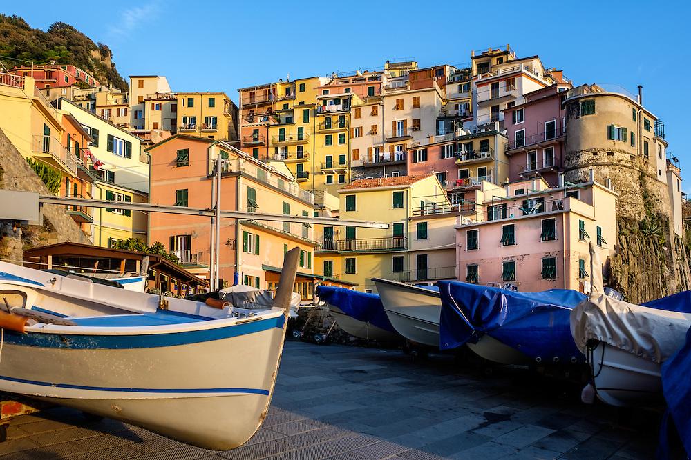 MANAROLA, ITALY - CIRCA MAY 2015:  Boats in the port Manarola  in Cinque Terre, Italy.