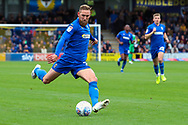 AFC Wimbledon midfielder Scott Wagstaff (7) about to pass the ball during the EFL Sky Bet League 1 match between AFC Wimbledon and Rochdale at the Cherry Red Records Stadium, Kingston, England on 5 October 2019.
