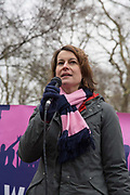 Helen Hayes, Labour Member of Parliament for Dulwich & West Norwood, speaks to fans and supporters of Dulwich Hamlet Football Club during a protest march from Goose Green to Champion Hill on 17th March 2018 in South London in the United Kingdom. The non-league, South London, club is gaining popularity following recent eviction by Meadow Residential, an American property investment fund, who want to turn the clubs ground, Champion Hill, into luxury flats. .