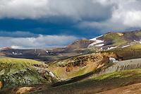 Colorful mountains at Geothermal areas in <br /> Reykjadalir, on Fjallabak syðra