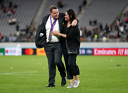 New Zealand Head Coach Steve Hansen (left) and wife Tash Marshall celebrate on the pitch after the 2019 Rugby World Cup bronze final match at Tokyo Stadium.