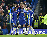 Chelsea's Willian celebrates scoring his sides second goal during the Premier League match at Stamford Bridge Stadium, London. Picture date December 31st, 2016 Pic David Klein/Sportimage