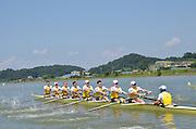 Chungju, South Korea,  AUS M8+. Ned KINNEAR (b) , Cameron BREWER (2) , Angus MOORE (3) , Alexander HILL (4) , George ELLIS (5) , Scott LAIDLER (6) , Brendan MURRAY (7) , Tom GATTI (s) , David WEBSTER (c) 2013 FISA World Rowing Championships,  at the Tangeum Lake International Regatta Course. 14:02:05  Monday  26/08/2013 [Mandatory Credit. Peter Spurrier/Intersport Images]