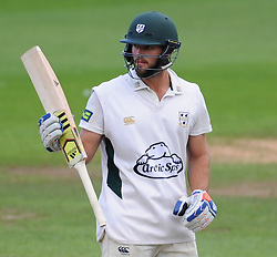 Worcestershire's Ross Whiteley celebrates 50* - Mandatory byline: Alex Davidson/JMP - 07966386802 - 23/08/2015 - Cricket - County Ground -Taunton,England - Somerset CCC v Worcestershire CCC - LV= County Championship Division One - Day 3