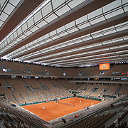 PARIS, FRANCE September 25. A general view with the roof closed of Rafael Nadal of Spain during his practice match with Filip Krajinovic of Serbia on Court Philippe-Chatrier in preparation for the 2020 French Open Tennis Tournament at Roland Garros on September 25th 2020 in Paris, France. (Photo by Tim Clayton/Corbis via Getty Images)