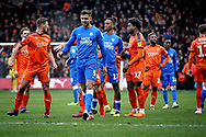 Peterborough Utd defender Ryan Tafazolli (5) walking off after getting sent off while the players argue behind him during the EFL Sky Bet League 1 match between Luton Town and Peterborough United at Kenilworth Road, Luton, England on 19 January 2019.