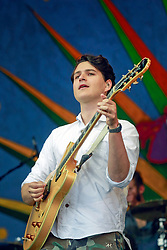 27 April 2014. New Orleans, Louisiana.<br /> Ezra Koenig of Vampire Weekend at the New Orleans Jazz and Heritage Festival. <br /> Photo; Charlie Varley/varleypix.com