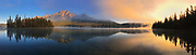 Panorama of Pyramid Lake at sunrise, Jasper National Park, Alberta, Canada
