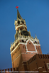 Spasskaya Tower on the east wall of the Kremlin in Red Square in Moscow, Russia. Friday April 21, 2017. Photography ©2017 Michael Lichter.