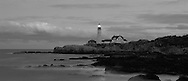 Maine, Fort Williams Park, Portland Head Light, first used in1791, as authorized by President George Washington , Dusk, Atlantic Ocean